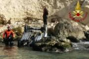 CAGLIARI, Auto caduta in mare dalla scogliera di Sant'Elia recuperata dai Vigili del Fuoco (VIDEO)