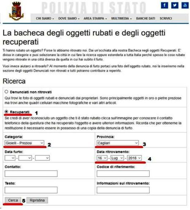 CAGLIARI, Nel sito della Questura i gioielli rubati dalle giovani rom a luglio: si cercano i proprietari
