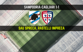CALCIO, Cagliari convincente in trasferta, Sampdoria bloccata (1-1): Sau spreca, Rastelli impreca