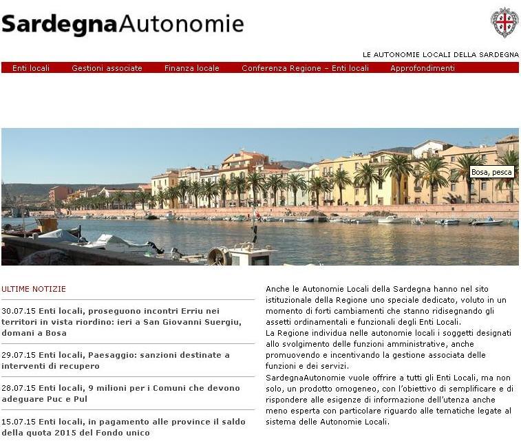 """ENTI LOCALI, Da oggi on line """"Sardegna Autonomie"""": una finestra su finanza locale e spesa fondi"""