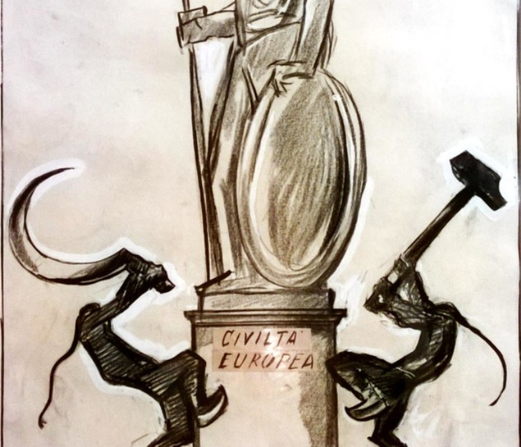 """ROMA, Tutti in fila per vedere le illustrazioni del sassarese Sironi su """"Il Popolo d'Italia"""""""
