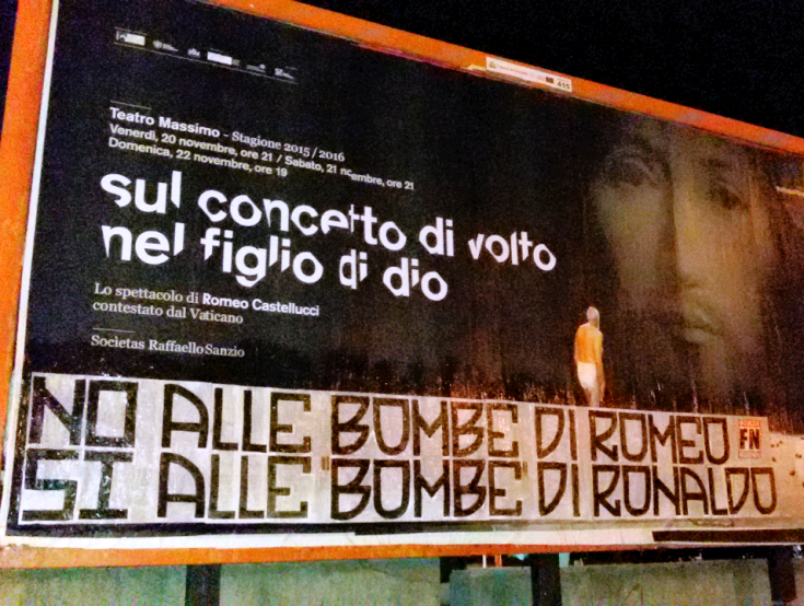 """CAGLIARI, Forza Nuova contesta il teatro blasfemo di Castellucci: """"No alle bombe di Romeo, si alle bombe di Ronaldo"""""""