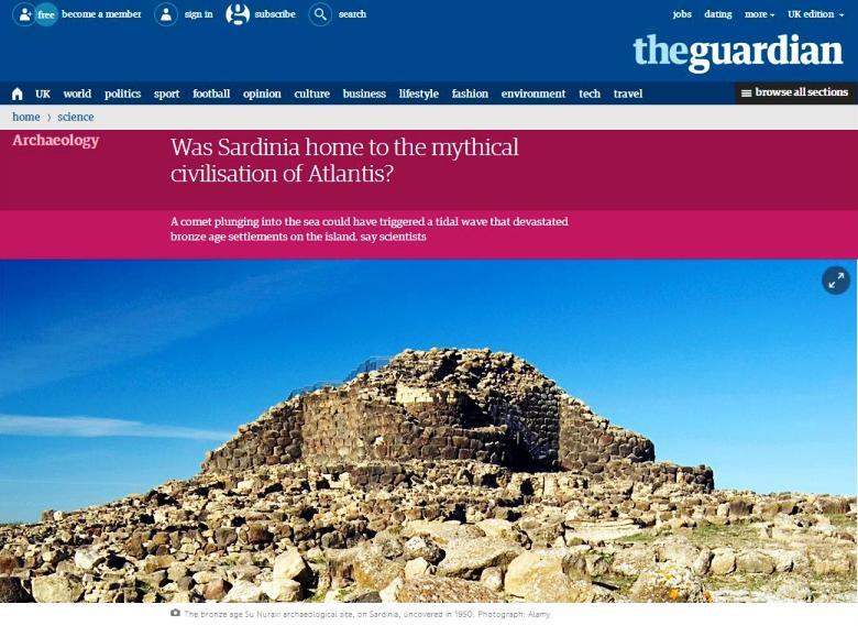 """Un articolo del giornale inglese """"The Guardian Weekly"""": La Sardegna era la casa della mitica civiltà di Atlantide?"""