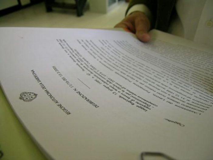 REGIONE, Le delibere della Giunta regionale: Personale, Lavori pubblici, Ambiente, Industria