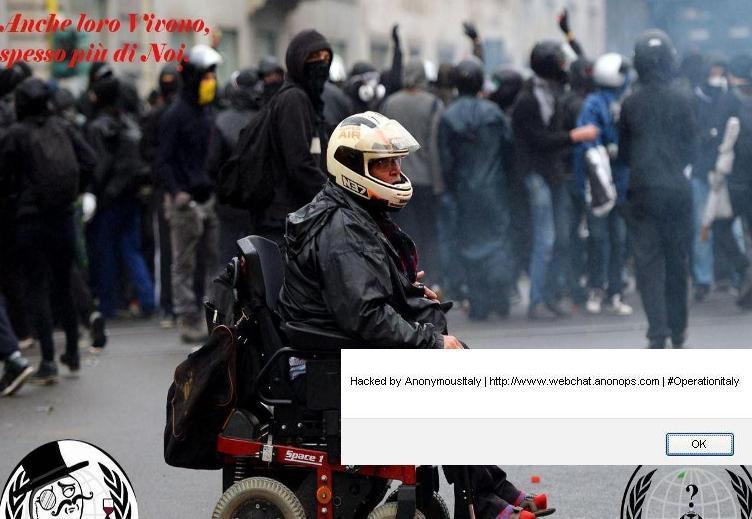CAGLIARI, Anonymus oscura sito Aias e mette in home page un disabile 'black bloc'