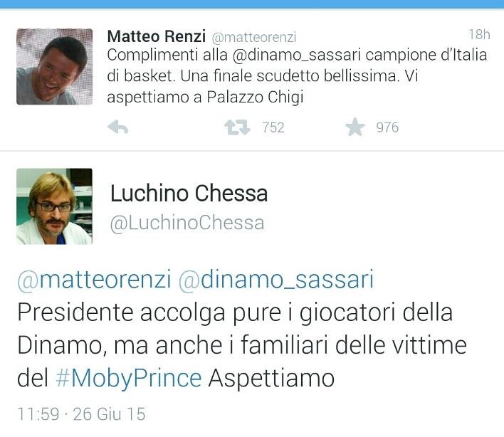 """MOBY PRINCE, Renzi invita la Dinamo Campione a Palazzo Chigi. Chessa: """"I familiari delle vittime aspettano ancora di essere ricevuti"""""""