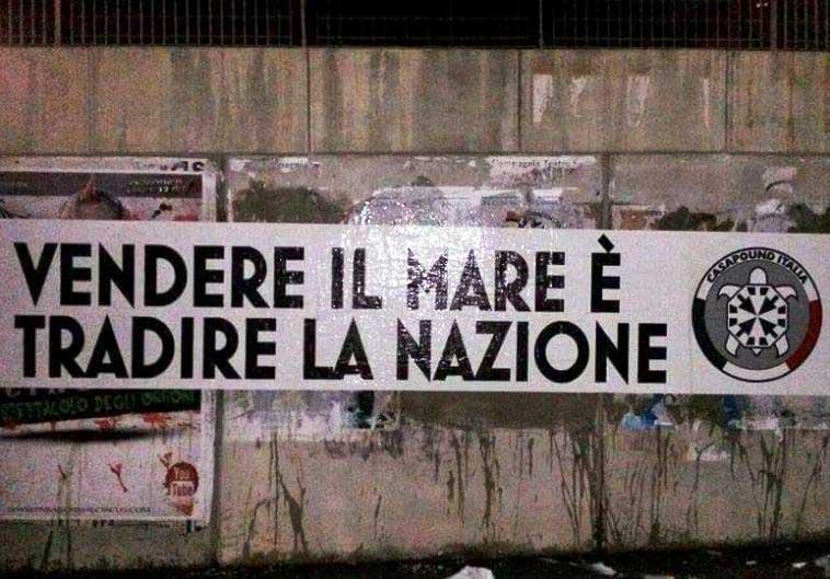 """ACCORDO ITALIA-FRANCIA, CasaPound: """"Vendere il mare è tradire la Nazione"""""""