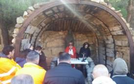OLMEDO, Visita del Vescovo di Ozieri ai minatori in lotta per il posto di lavoro