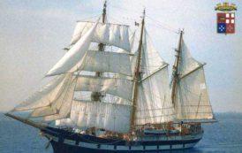 CAGLIARI, La nave scuola Palinuro della Marina militare ormeggiata al Porto