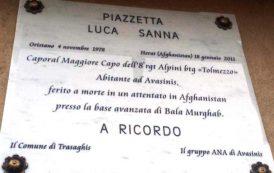 AVASINIS, Targa per ricordare il caporalmaggiore di Samugheo Luca Sanna, morto in Afghanistan